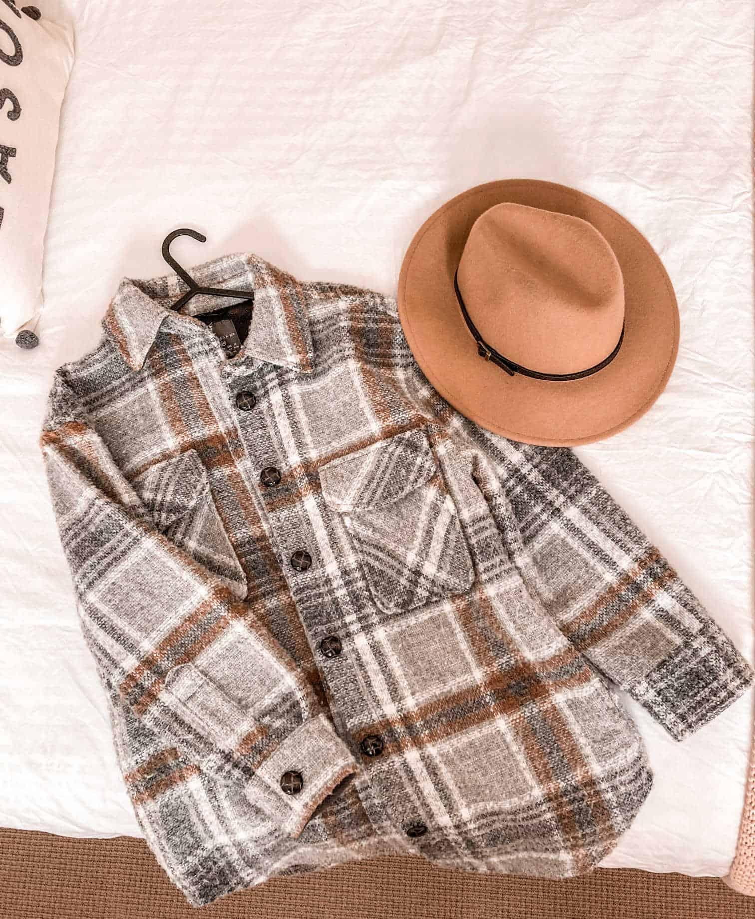 Checked shacket fall fashion inspiration