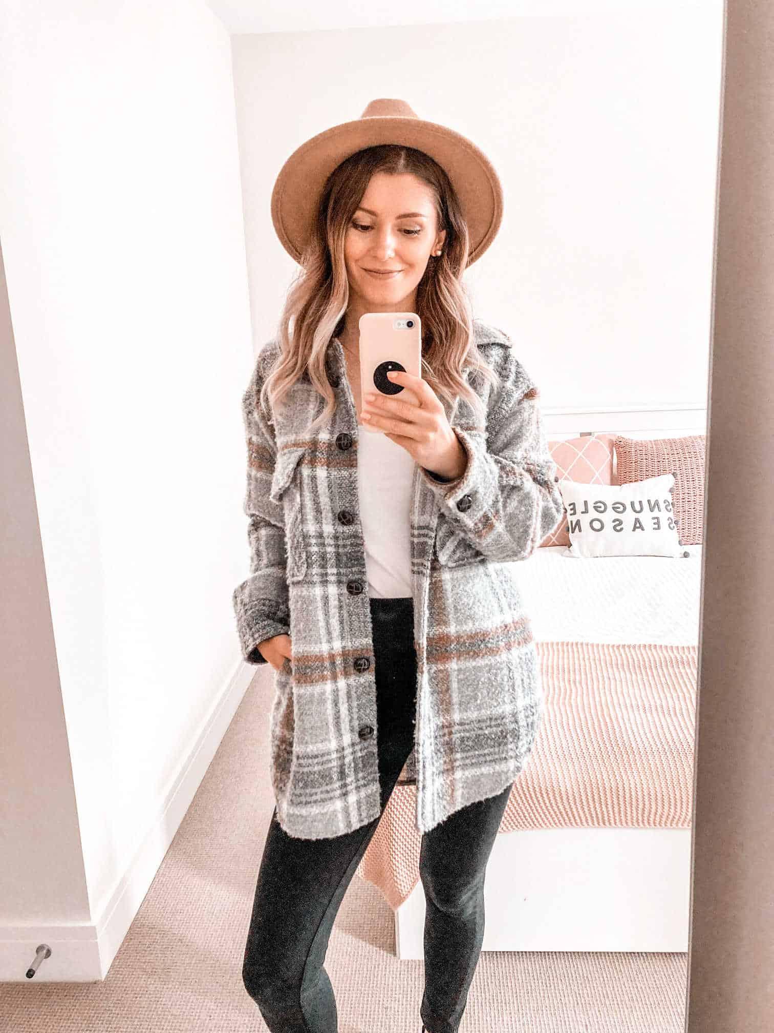 Fall shacket outfit felt hat autumn inspiration