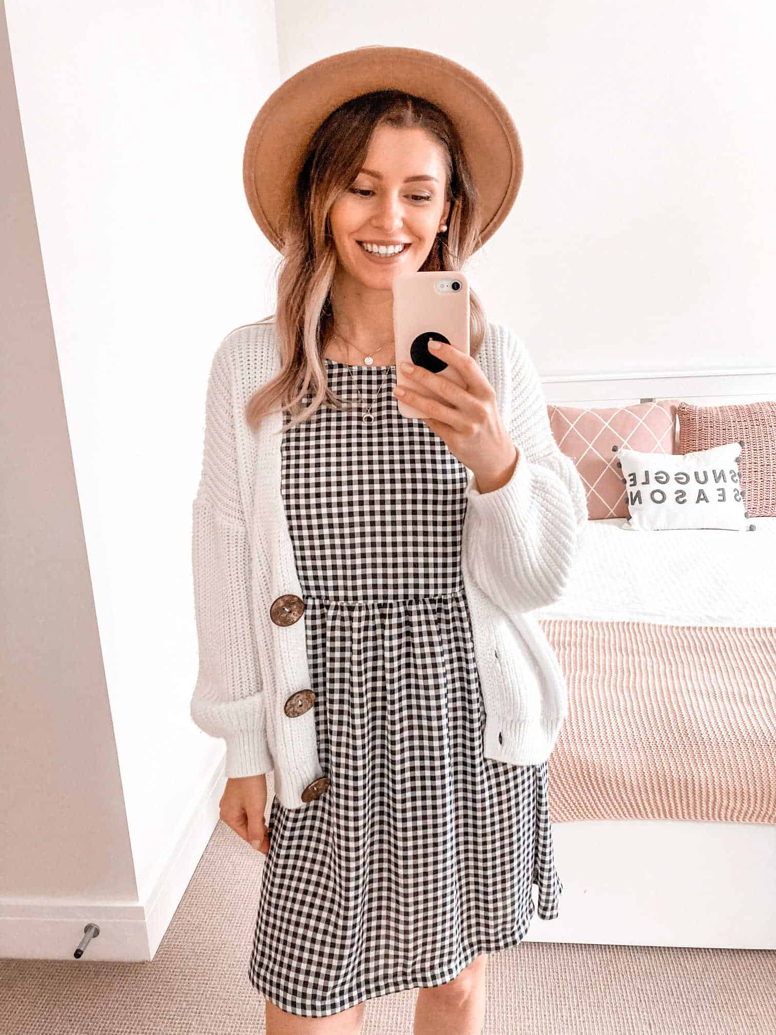 Gingham dress cardigan fall outfit ideas