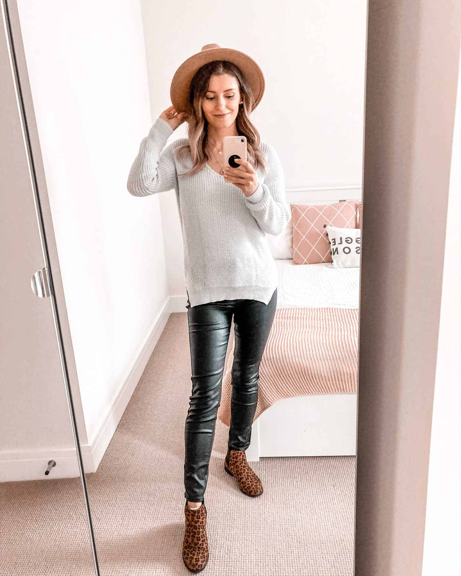 White knitwear and coated jeans fall outfit 2020