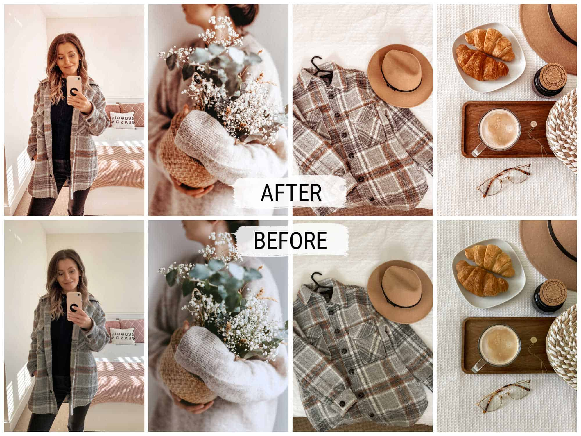 Bright and airy cosy free Lightroom preset for bloggers