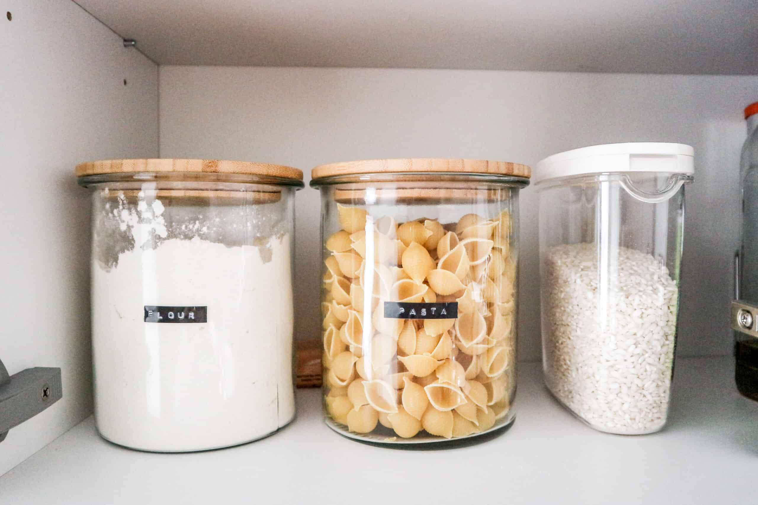 How to organize kitchen pantry labeled jars