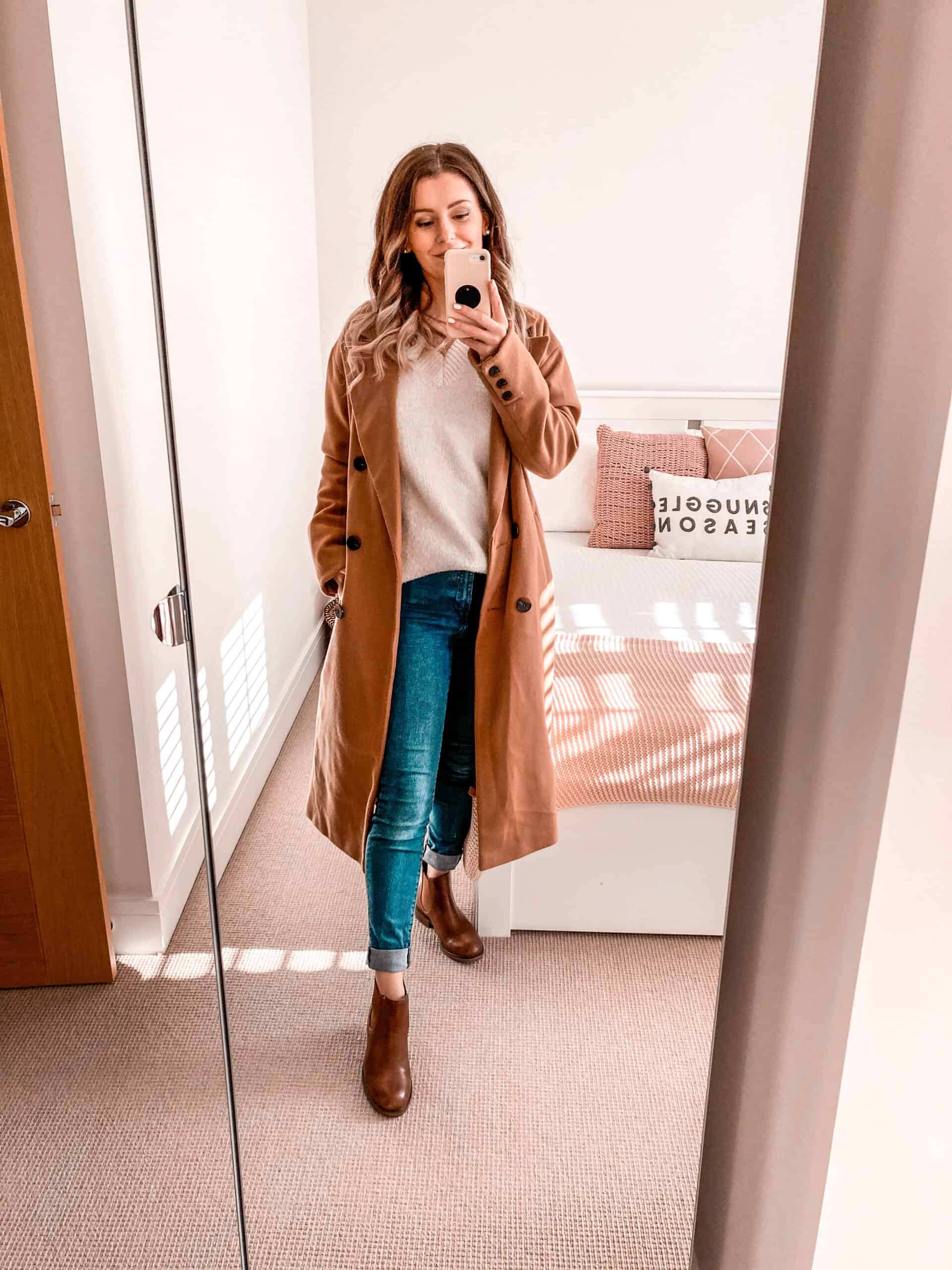 Camel coat oversized knitwear tan chelsea boots autumn outfit