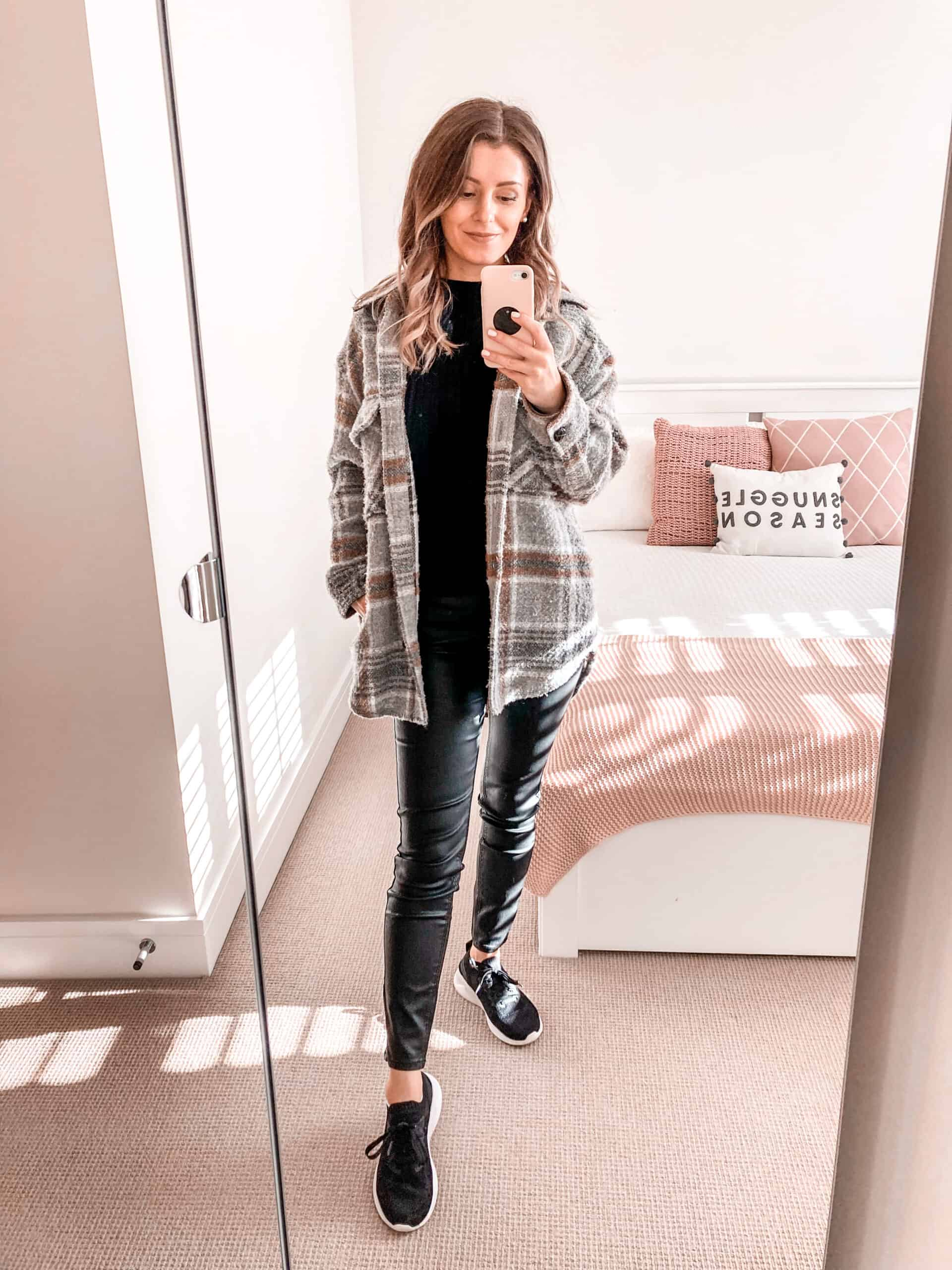 Checked grey shacket coated jeans all black fall outfit