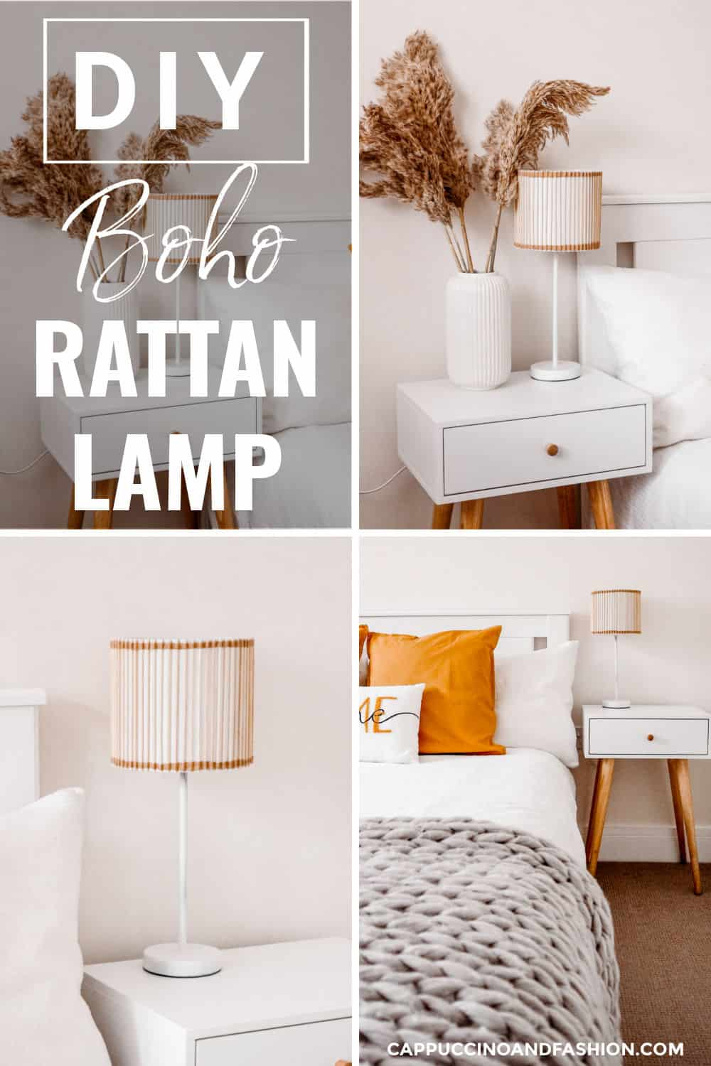 DIY Boho Rattan Lamp Scandi Home Decor