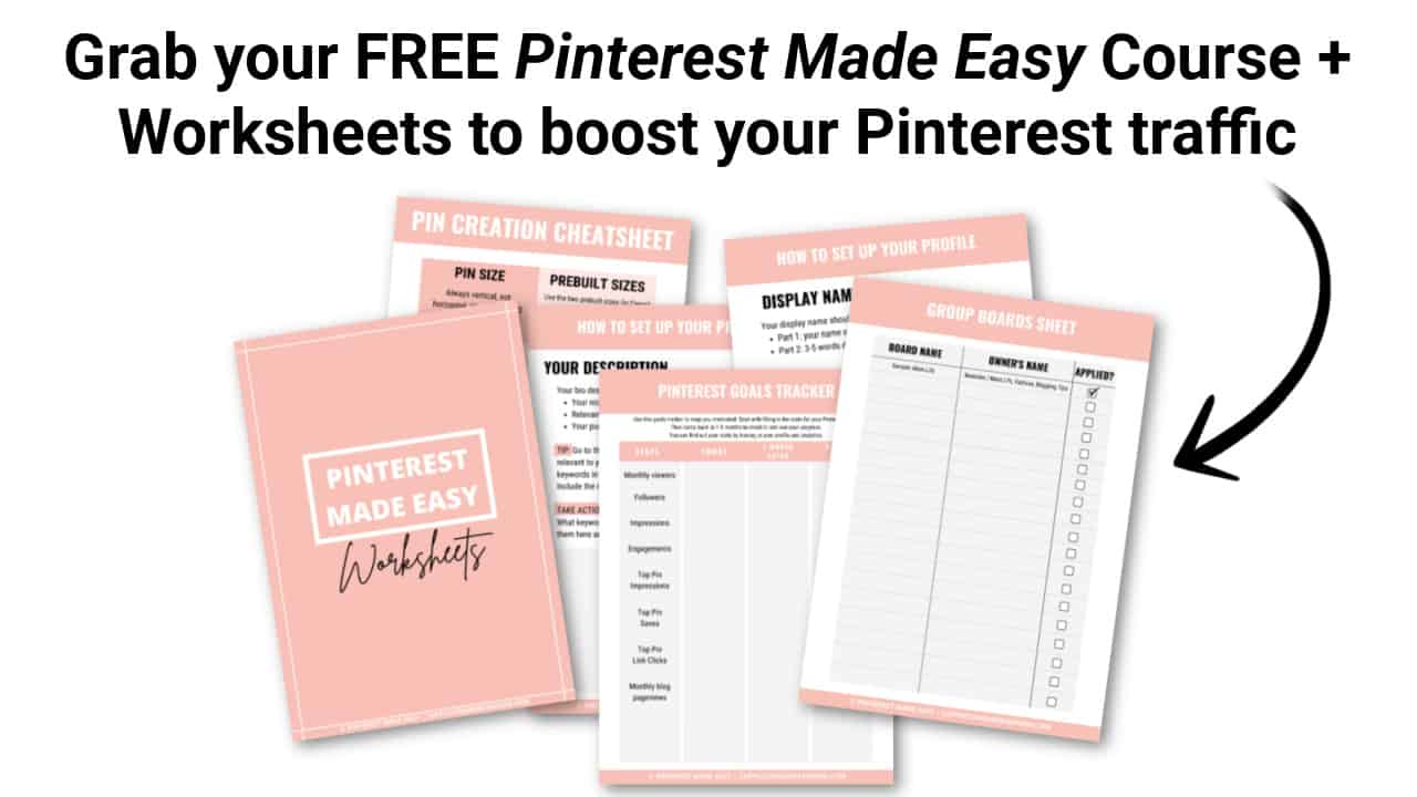 Free Pinterest Made Easy Course and Worksheets for Bloggers