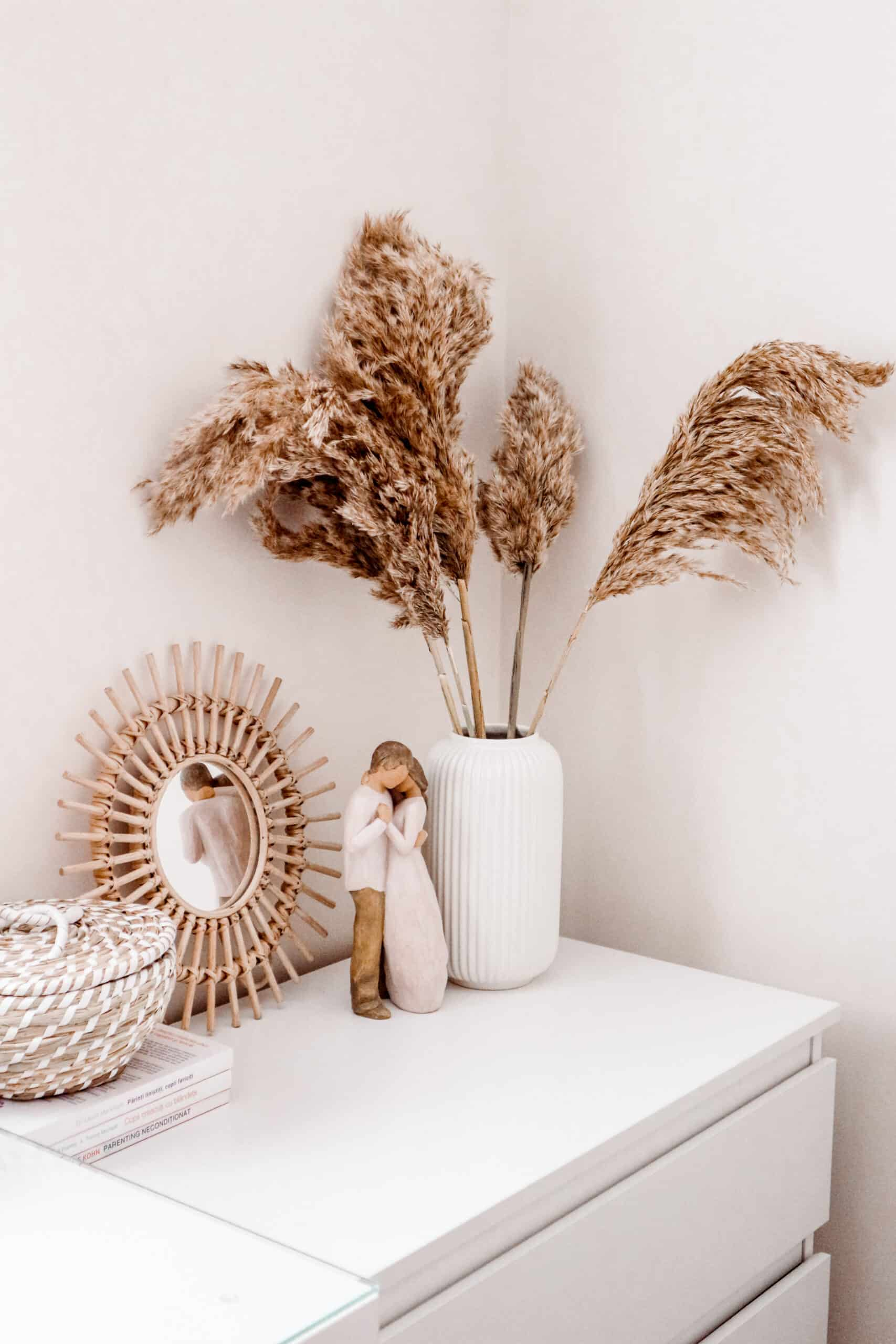 Pampas and rattan scandi boho home decor ideas on a budget