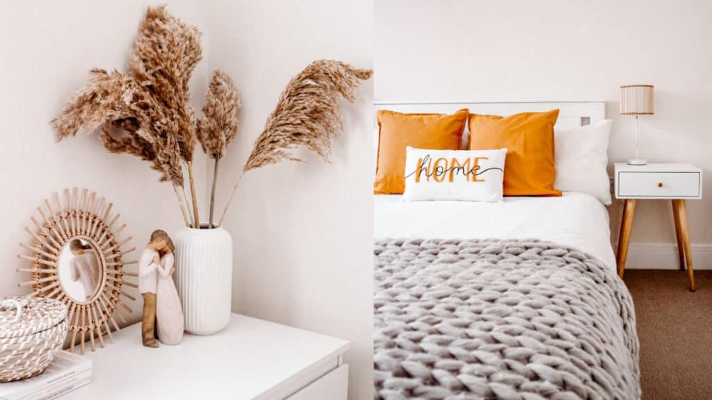 DIY master bedroom makeover ideas pampas rattan boho scandi