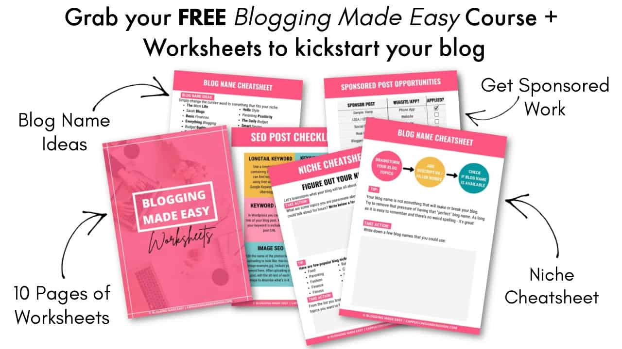 Free Blogging Made Easy course worksheets for beginners