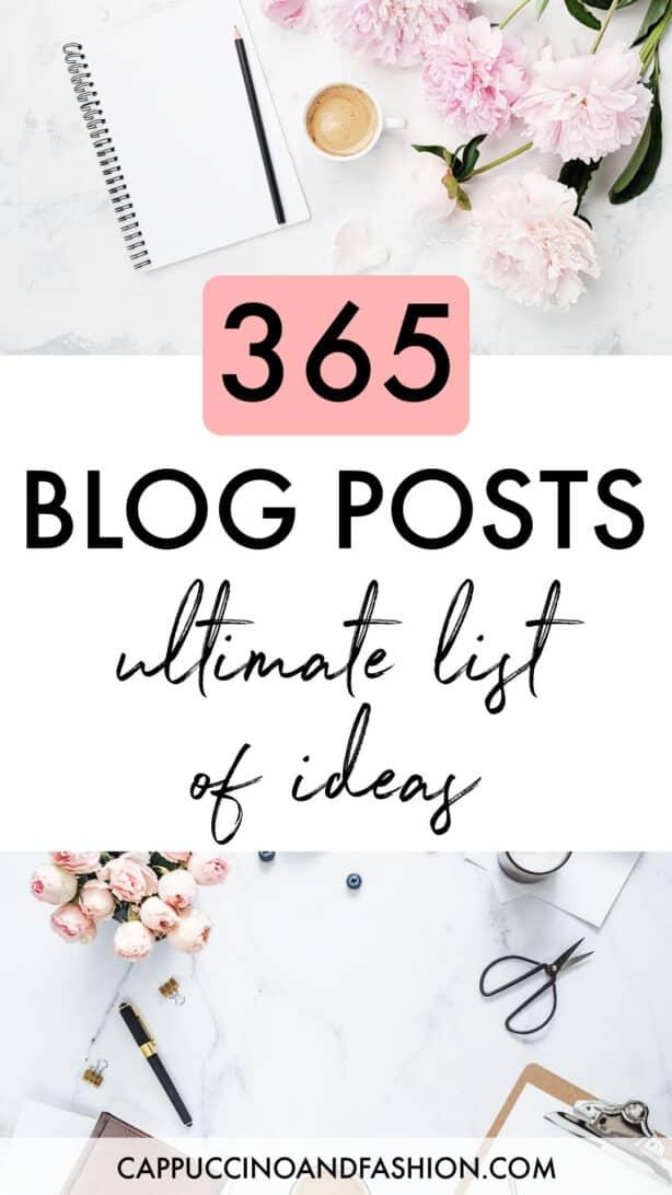 Ultimate list of 365 blog posts ideas