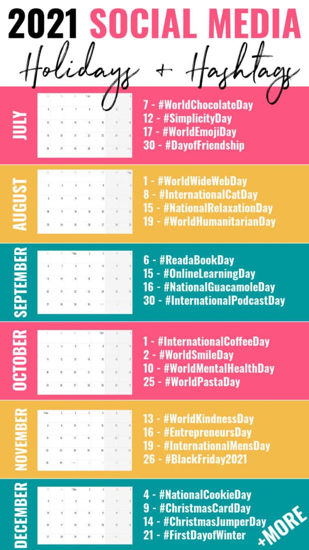 2021 Social Media Holidays Hashtags UK