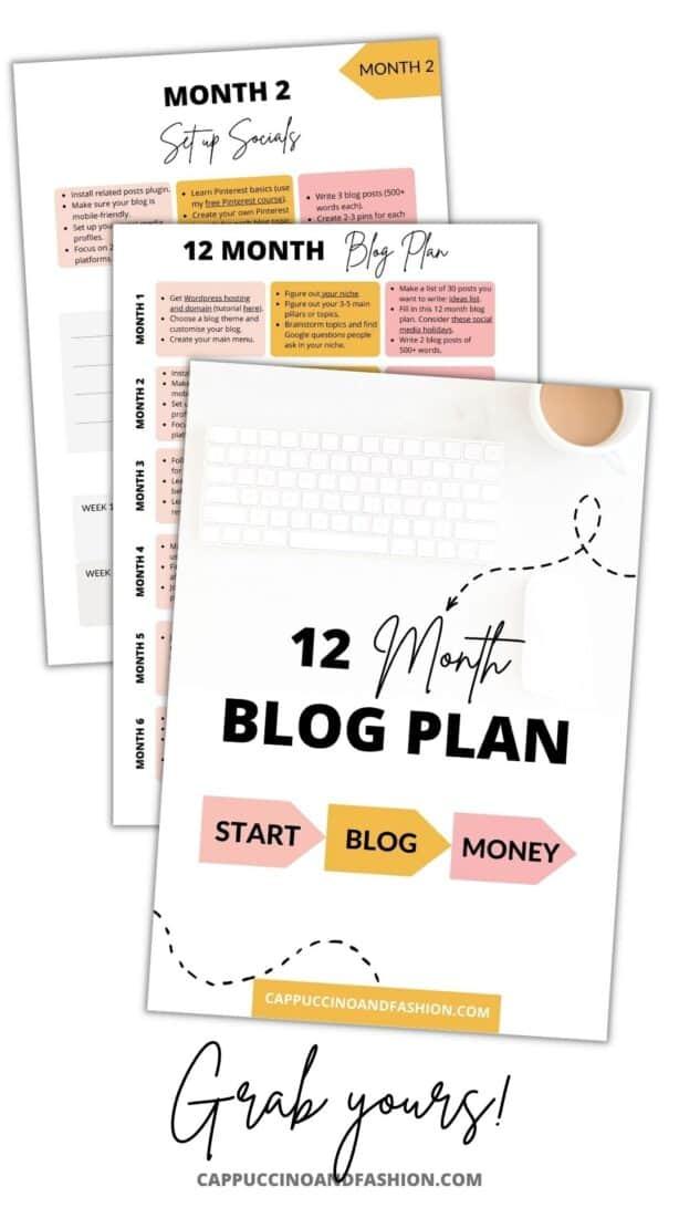 Free 12 Month Blog Planner to Make Money Blogging