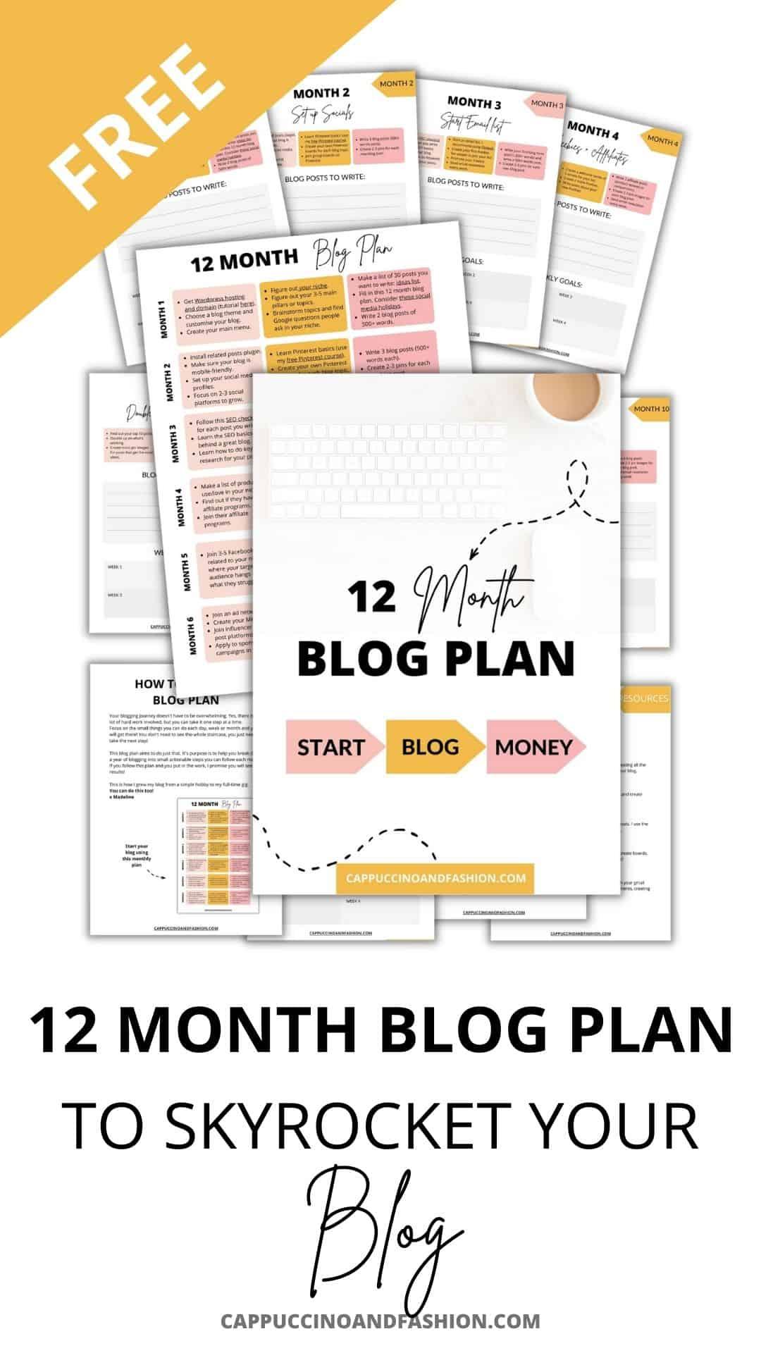 12 month blog plan free
