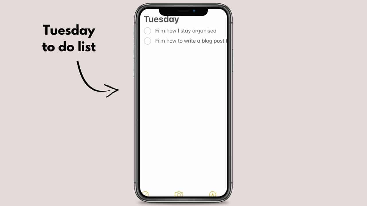 How to organise daily to do lists notes app on iPhone