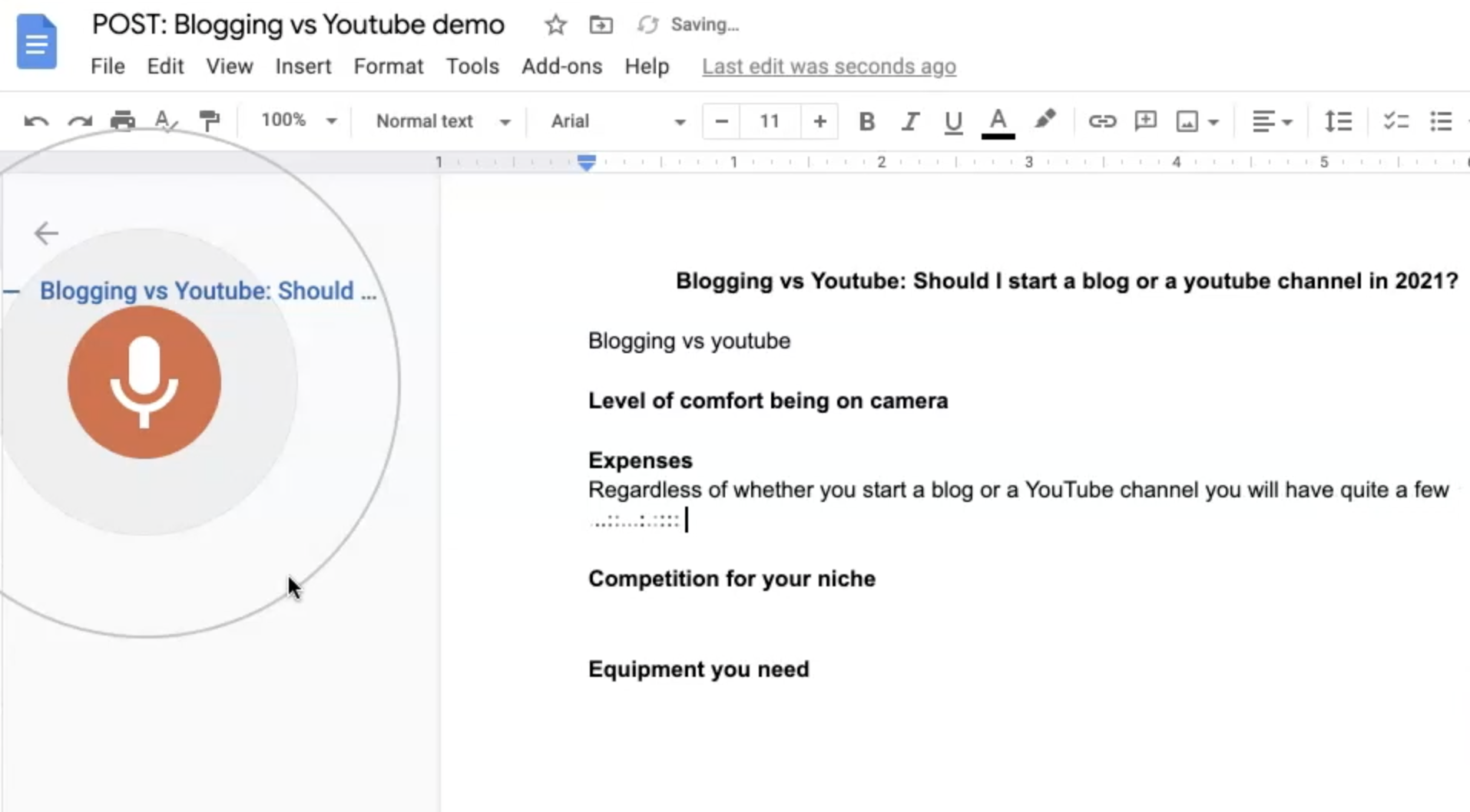 How to use speech to text in Google docs