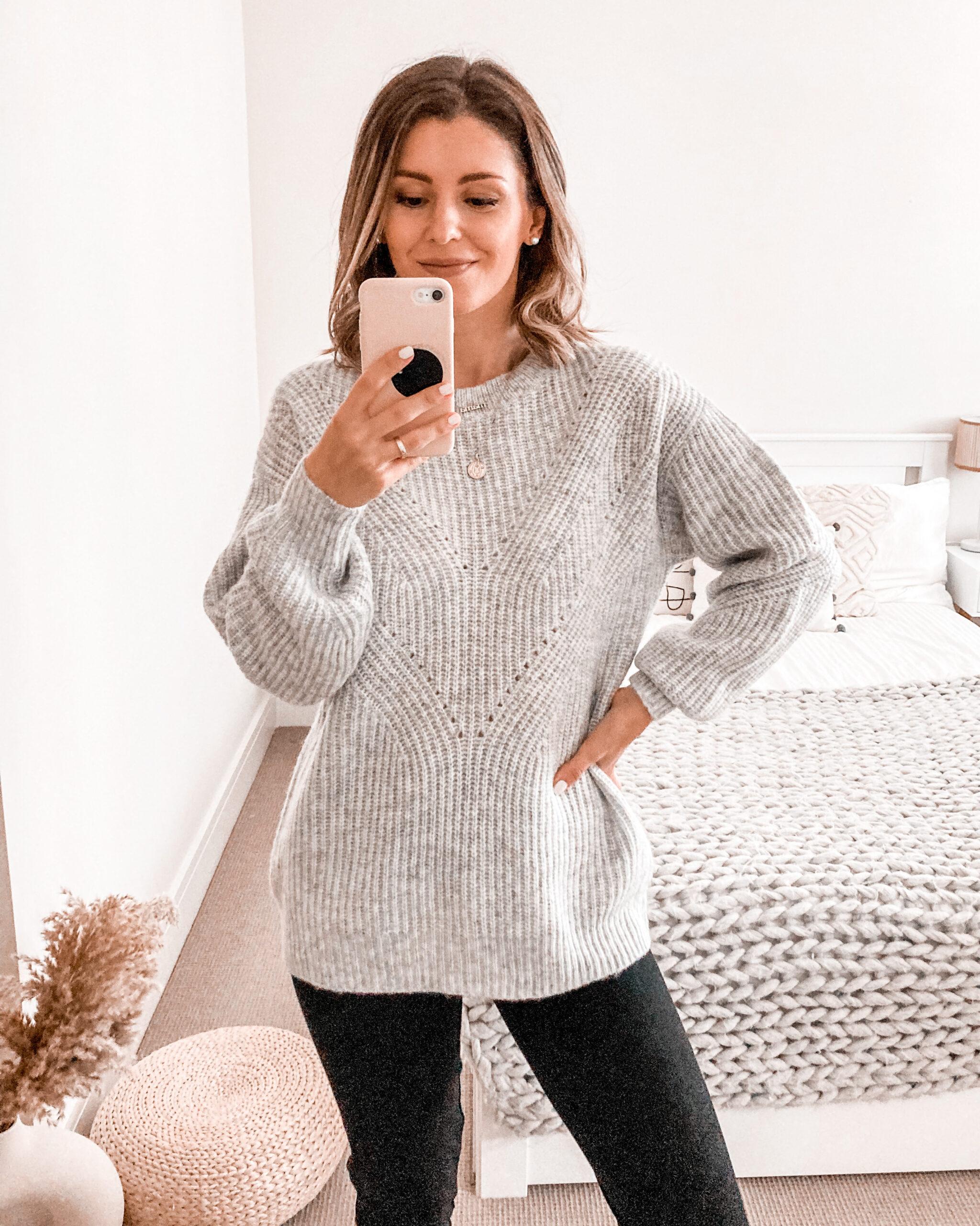 Gray rib Knit Jumper Tesco F&F Clothing UK Autumn Winter 2021